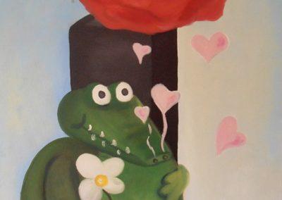 Krokodil mit Blume
